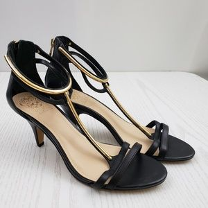 Vince Camuto Mitzy T Strep Heels Black Leather 9.5
